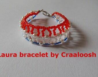 LAURA  red white and blue Beaded Bangle by Craaloosh. Handmade Croatian Jewelry. One of a kind.