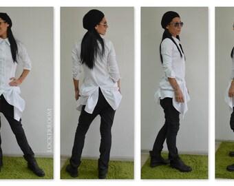 White Extravagant Shirt / White Elegance shirt / Shirt with long sleeves / Woman Innovate shirt / Daywear Shirt