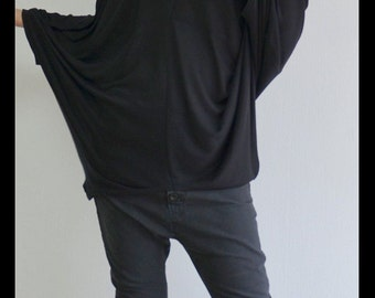 Oversized black top/Extravagant black tunic /Casual loose blouse