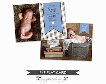 Birth Announcement Card Template - 5x7 Digital Photography Photoshop File - Template for Photographers - NC19 - INSTAND DOWNLOAD