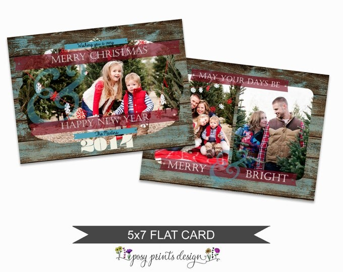 Rustic Christmas Card Template - 5x7 Photo Card - Photoshop Template - INSTANT DOWNLOAD or Printable - CC08H