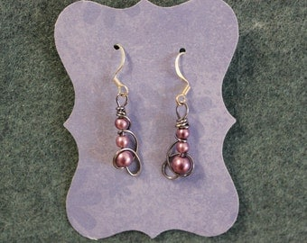 Lavender Wire Wrapped Earrings