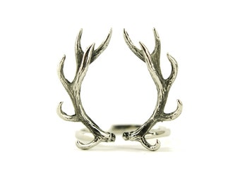 Deer Antler Ring Antique Silver Color Adjustable Ring Horns Wrap Ring Boho Jewelry - FRI001 T1