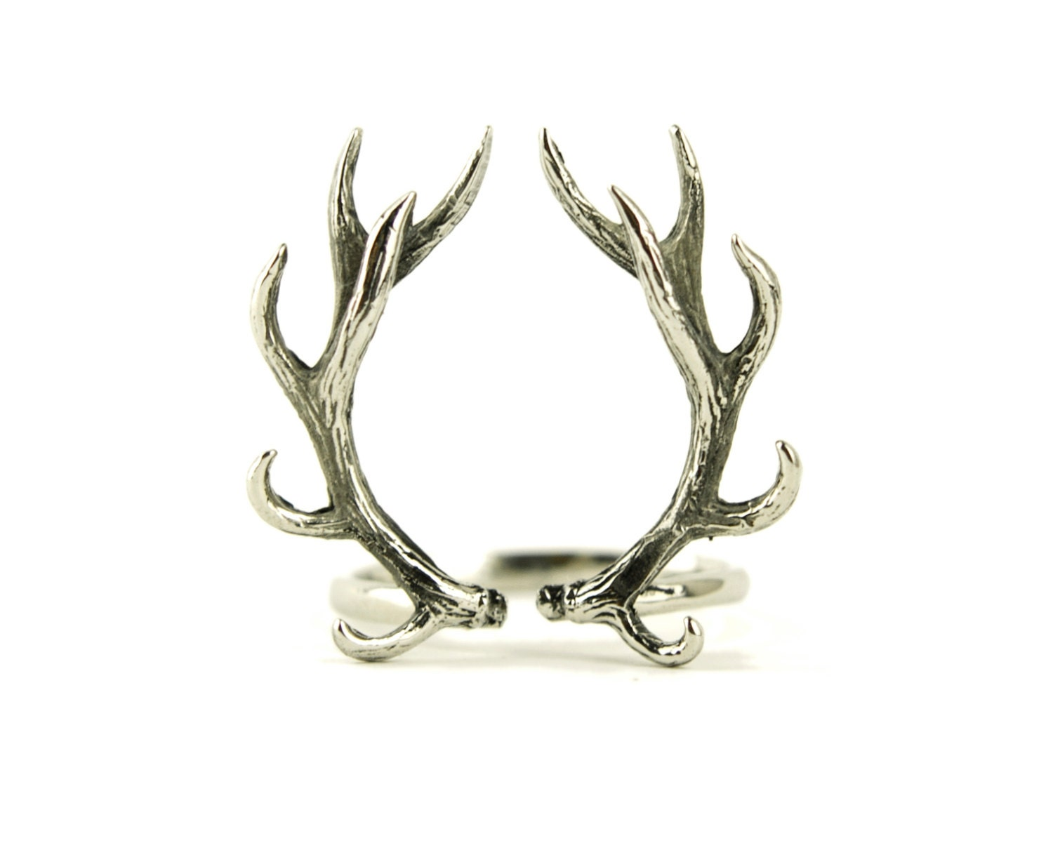 deer antler ring antique silver color adjustable ring horns