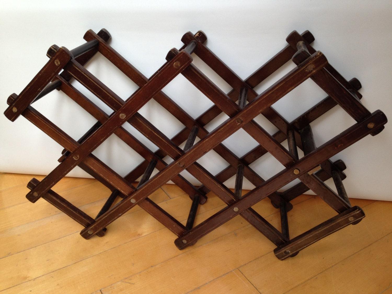 Vintage wine rack wooden accordion wine rack dark stain for Old wine rack