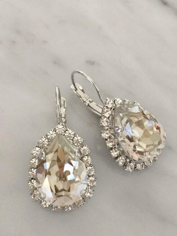 Large Pear Cut Swarovski Silver Shade Crystal Bridal, Cocktail Earrings