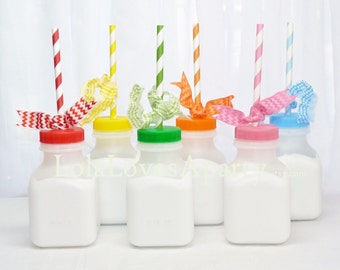 MILK BOTTLE Plastic set of 10 Plastic BPA Free - ReTrO School Cafeteria MiLk/ Juice BoTTle- 8oz Birthday, farm, Cookies & Milk, party Favor