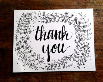Floral/Calligraphy Thank you Cards Set of 8