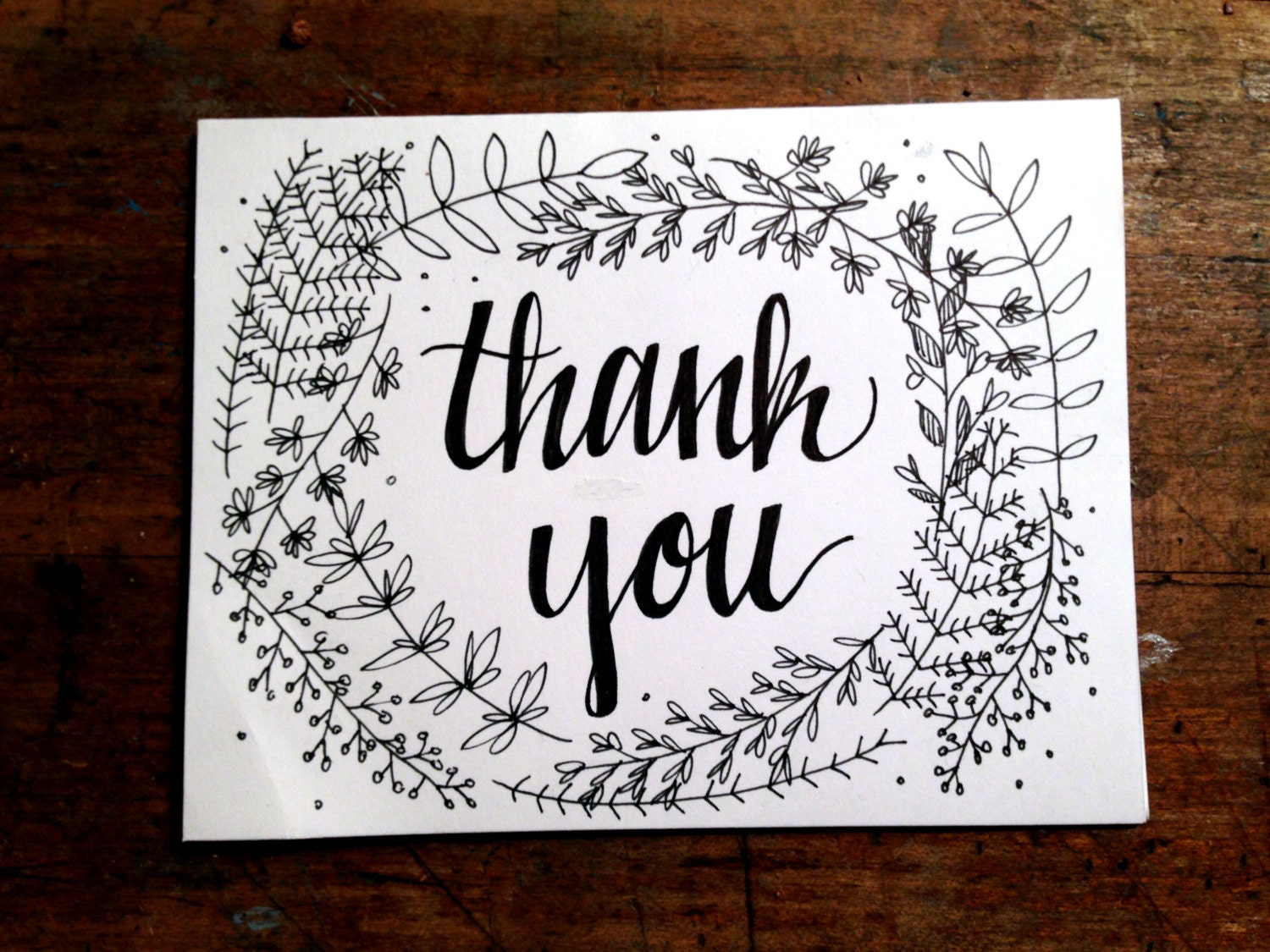 Floral Calligraphy Thank You Cards Set Of 8
