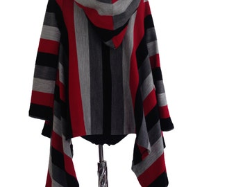 Oversize loose plus size cotton boho cardigan with long sleeves and hood