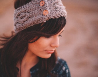 Adult button Lace Knit headband
