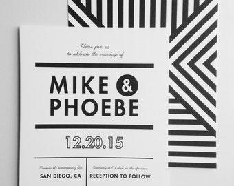 modern wedding invitations with zigzag print back - custom wedding invitation set
