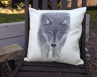 Wolf Cushion Cover/ Original Graphite Drawing/ Wolf print Pillow Cover/ Buttercream pale yellow Cushion Cover