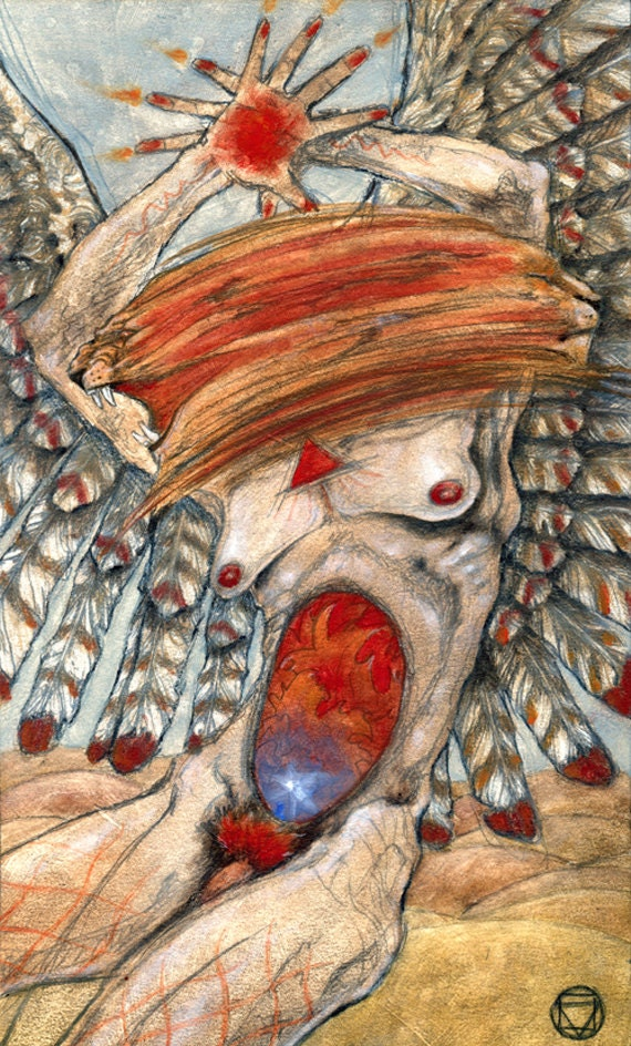 Ace Of Wands Mary-el Tarot Original Painting Tarot Deck
