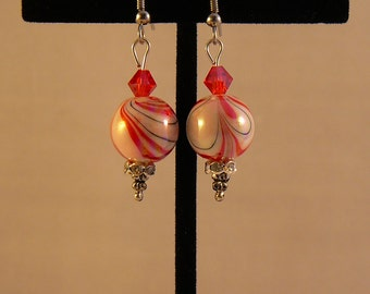 Red and White Swirl and Crystal Earrings