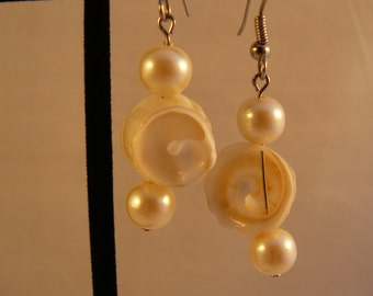 Seashell and Pearl Earrings