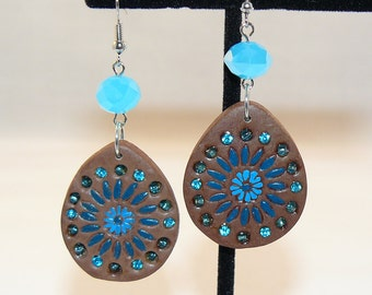 Leatherette and Crystal Earrings