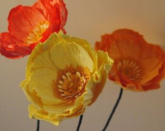 Individual Paper Poppy Stem -  Orange and Yellow Poppies - Wedding, Event, Decor - Paper Flower - California Poppies - Poppy Arrangement