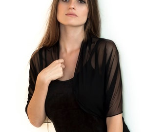 Black sheer shrug bolero shawl. Versatile infinity casual cover up (CF101)