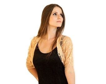 Lace Cover Up With 4 Wearing Options, Peach Lace. Shawl, Shrug, Crisscross And Scarf. Gift For Women, Gift For Her, Stocking Stuffer  OM111