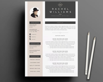 4 page resume cv template cover letter for ms word instant digital download - Resume Template With Cover Letter