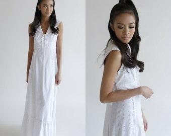 Cotton Wedding Dress / Vintage 1960s Sailor Maxi Dress