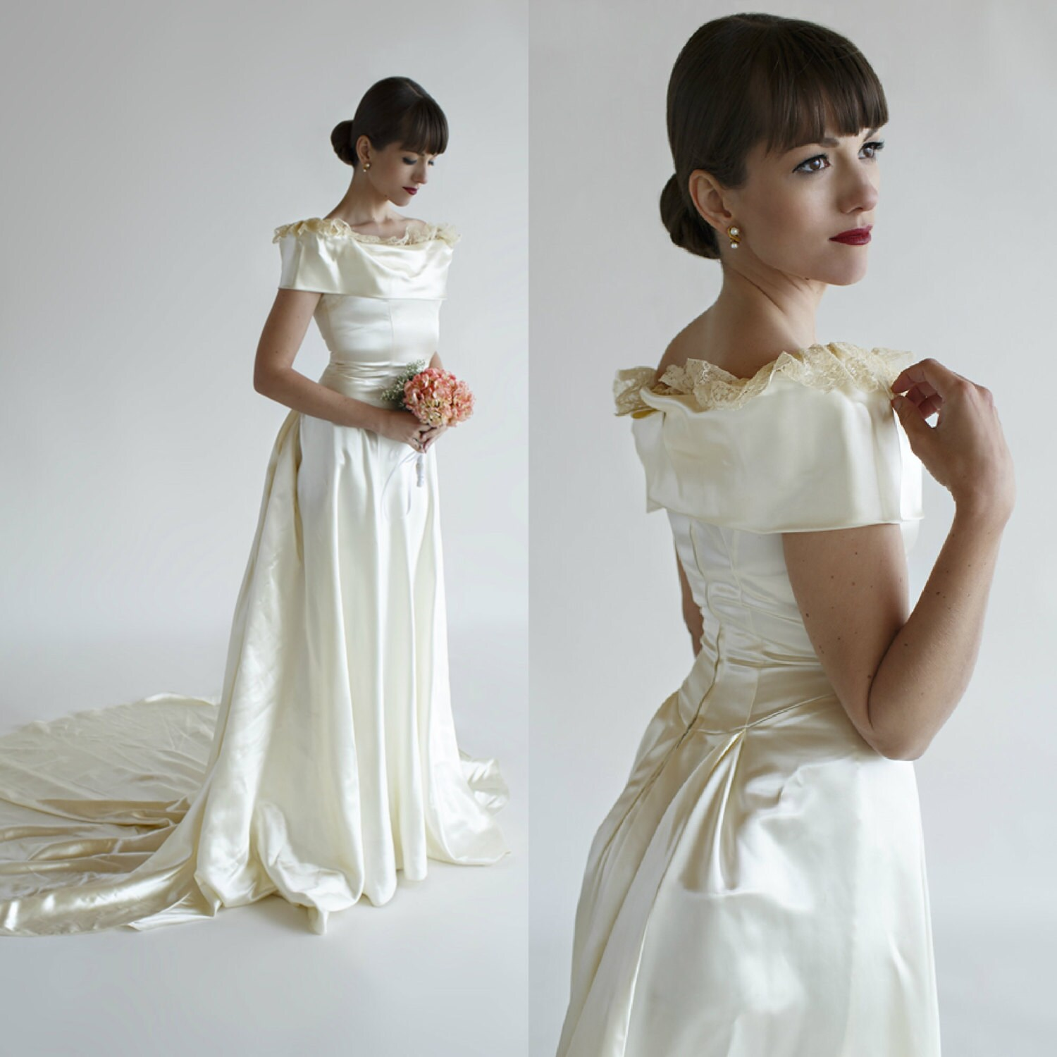 1940s wedding dress vintage ivory satin by for Ivory satin wedding dress