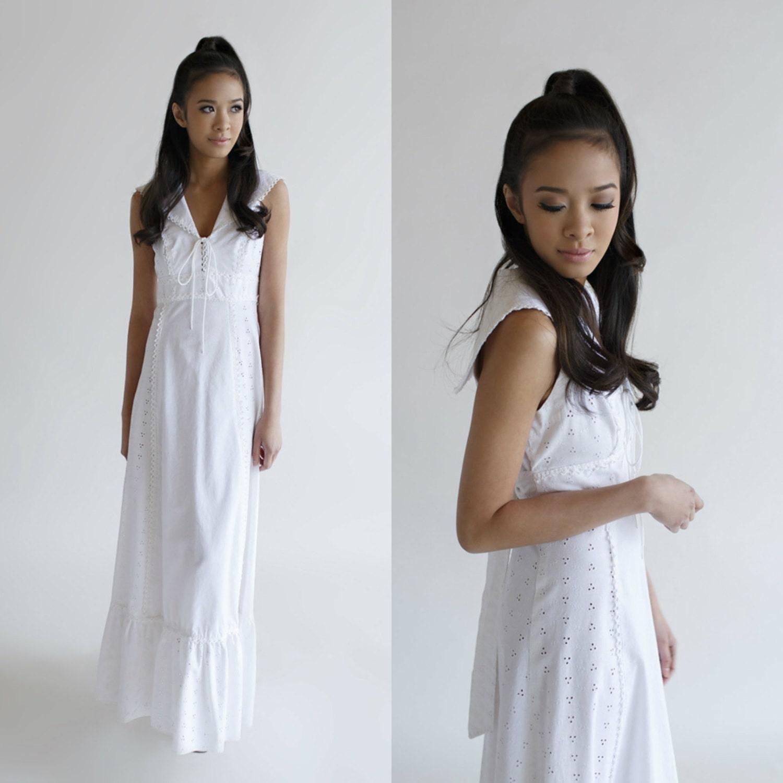 Cotton Wedding Dress Vintage 1960s by BelovedVintageBridal