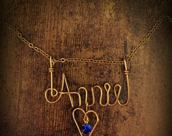 Personalized Gold Wired Name Necklace