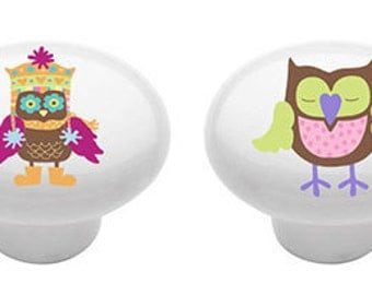 Ceramic Arty Owls  Ceramic Drawer  Knobs for Furniture or Cabinets