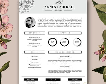 Resume Template | Feminine Resume and FREE Cover Letter Template | Creative  Resume with Photo |