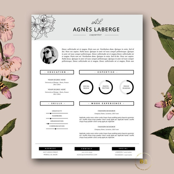 Resume Template | Feminine Resume And FREE Cover Letter Template | Creative  Resume With Photo | Fashion Resume For MS Word Instant Download  Creative Resume Template Free