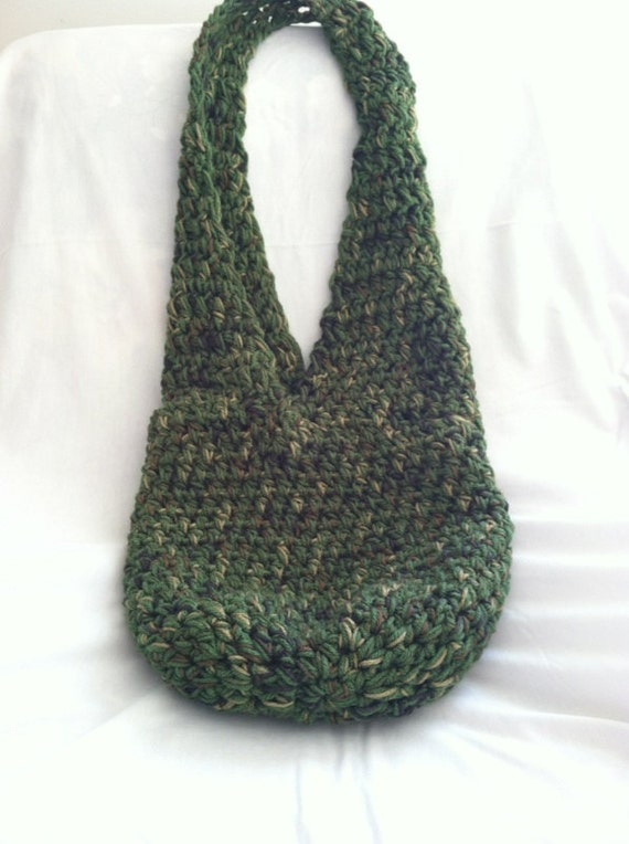 Items similar to Forest Green Crochet Hobo Bag on Etsy