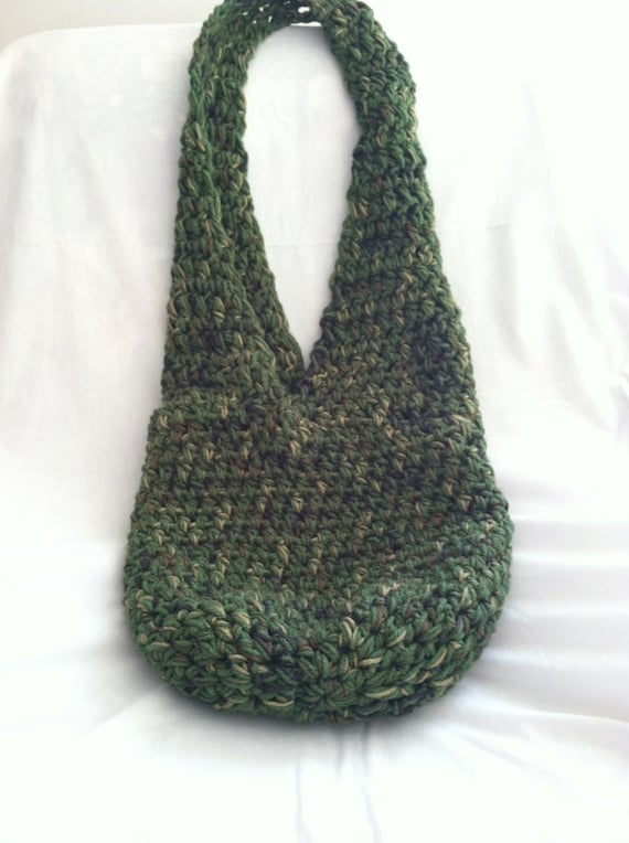 Crochet Hobo Bag : Items similar to Forest Green Crochet Hobo Bag on Etsy