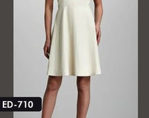 Genuine Soft Lambskin Leather Gorgeous A-line Silhouette Dress