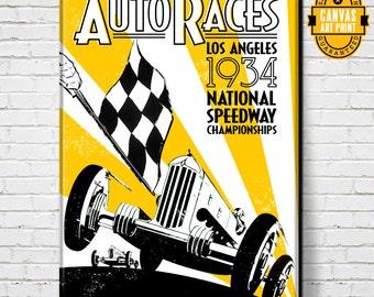 Car Art - LA Auto Races - Canvas Art Print, Auto Art, vintage advertising poster, Automobile Art, Man Cave Art, Car Gift, Garage Art