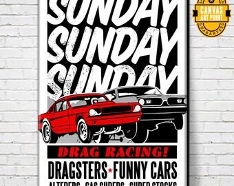 Car Art - Sunday Sunday Sunday -Canvas Art Print, Auto Art, Car Gift, Garage Decor, Race Car, Man Cave Art, Large Canvas Art, Garage Art