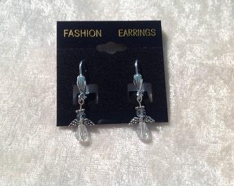 Crystal beaded angel earrings