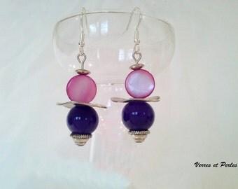 Earrings pink and purple