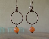 Soft Orange Dragon Veins Agate Beads on Wire Earrings