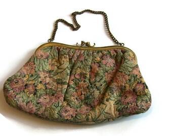 Antique Floral Fabric Evening Bag