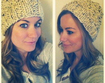 Knit Hat women's beanie choose your color!! // Slouchy Beanie // Knit Hat // Chunky Knit Cap Winter wool hat (handmade)