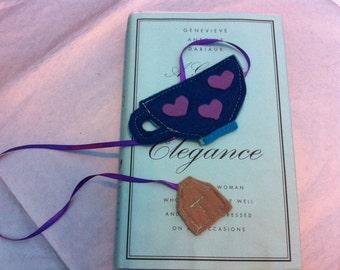 Cute felt tea cup and tea bag bookmark