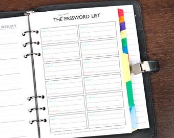 Filofax A5 Printable Password Keeper, Filofax Password Organizer, Filofax A5 insert , A5 Filofax Password printable, Filofax printable