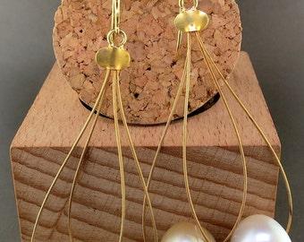 18 Karat Yellow Gold, South Sea Pearls and Diamond Dangle Earrings