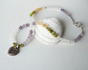 SALE, Sterling Silver Cross Pendant Necklace, Multicolor Heart Gemstone Jewelry Handmade Christian Jewelry, Simple Cross Jewelry, Catholic