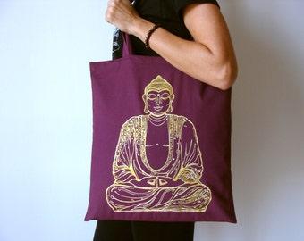 Golden Buddha tote bag, Tote bag, Yoga bag, Buddha yoga bag, Screen printing tote bag, Yoga accesories, Tote bag, Shopping bag, Gold buddha