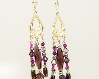 lavender/hot pink/silver - crystal and glass bead chandelier earrings