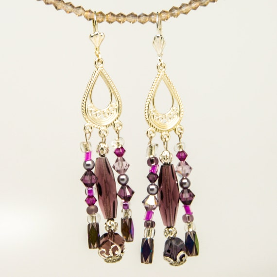 lavender hot pink silver crystal and glass bead chandelier