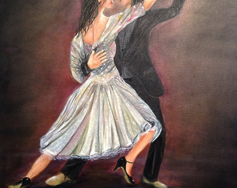 TANGO   A beautiful and romantic large oil painting. a unique piece of art with wonderful colors. NOW ********* Free Shipping*****